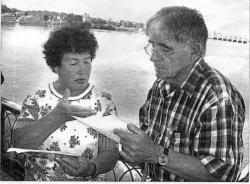 Встреча с Губертом Денизером (бывшим пленным) на берегу Волги, Углич 2005 г
