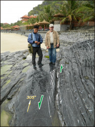 En echelon calcite streaks developed in the Devonian limestones of Cat Ba Island, Vietnam, as a result of a left-lateral strike-slip faulting