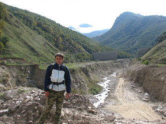 The Russian North Caucasus republic of Kabardino-Balkaria. Junior Researcher M.V. Mikhalev studies effects of the mudflow passed through the canyon in 2008